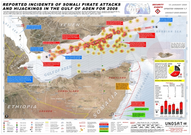 UNOSAT Somalia Pirate Attacks Map — 2008 — Gulf of Aden