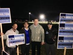 Charles Atencio and Oscar Camargo Campaign Team with Congressman Seth Moulton