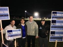 Charles Atencio and Oscar Camargo Campaign Team with Congressman Seth Moulton