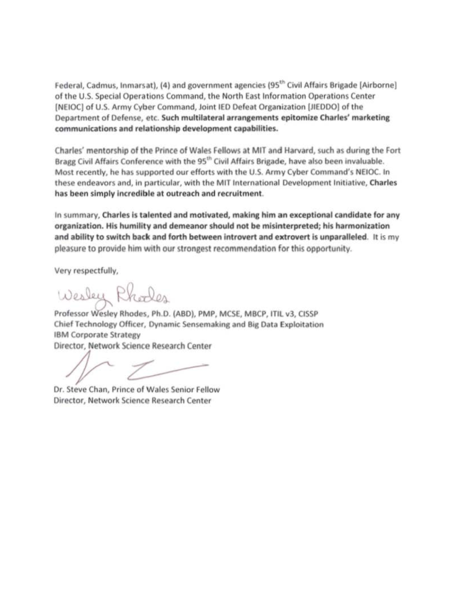 Charles Atencio Recommendation Letter - IBM NSRC - Wesley Rhodes and Steve Chan (2012)2