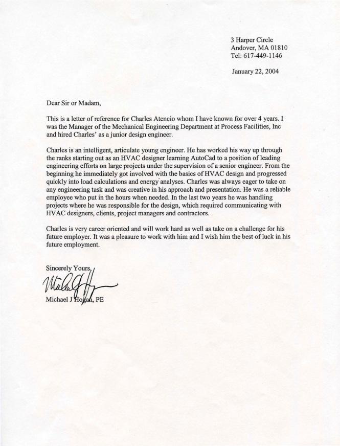 Charles Atencio Recommendation Letter - Parsons PFI - Michael Hogan (2004)